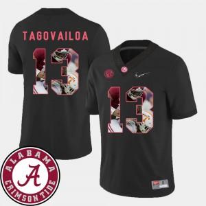 Tua Tagovailoa Alabama Jersey For Men #13 Football Pictorial Fashion Black 485622-990