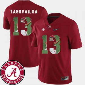 Football Men Pictorial Fashion #13 Tua Tagovailoa Alabama Jersey Crimson 573292-201