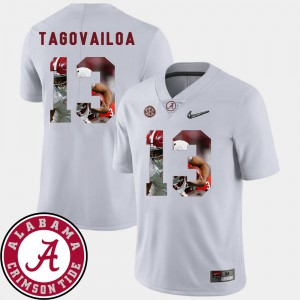 For Men's Tua Tagovailoa Alabama Jersey Football Pictorial Fashion White #13 242347-466