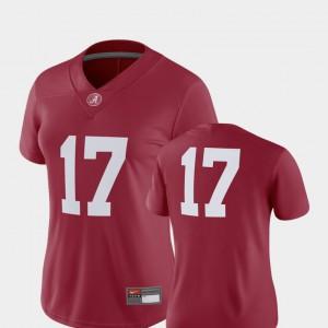 #17 College Football Crimson Alabama Jersey 2018 Game Womens 456509-824