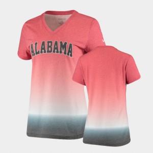 Women Crimson Alabama T-Shirt Ombre V-Neck 525296-995