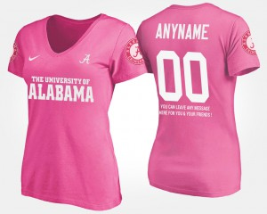 For Women's Pink #00 With Message Alabama Custom T-Shirts 888269-803