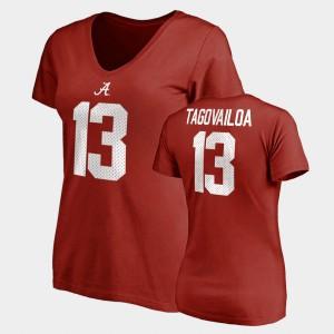 Crimson College Legends Tua Tagovailoa Alabama T-Shirt Name & Number V-Neck #13 For Women's 848327-859